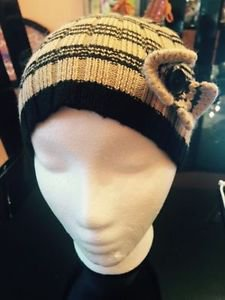 Pre-owned Wool Blend Beige & Black Striped Cloche Style Hat Bow Detail SZ S