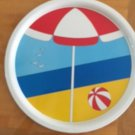 Vintage FARHANA for FAROY Round 12'' Diameter Serving Tray Beach Scene 1980s