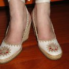 D& G Cream Off White Leather & Jute Espadrilles w/ Cut Out & Embroidery Sz 7