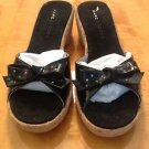 MARC JACOBS black patent leather bow detail cork slides platform sandals SZ 6