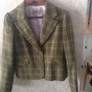 NWOT Juicy Couture Houndstooth Brown & Green Plaid Wool Blend Blazer SZ M