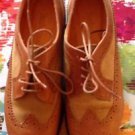 NWOB Timberland Lace Up Caramel Leather w/ Suede Insert Detail Wing Tips  SZ 6 M