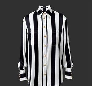 Balmain x H&M Black & White Striped 100% Silk Blouse SZ US 8 SOLD OUT