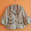 EUC Nanette Lepore 100% Cotton Cream& Green Pinstripe Jacket Sz 4 Made in usa