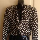True VTG UNGARO PARALLELE Black Damask Bolero Jacket w/ White Polka Dot Sz 10