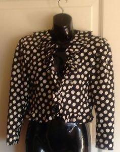 True VTG UNGARO PARALLELE Black Damask Bolero Jacket w/ White Polka Dot Sz 10