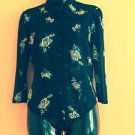 EUC XOXO Button Down Blouse  Black Nylon with White & Gray Floral Pattern