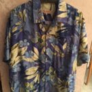 Pre-owned TOMMY BAHAMA 100% Silk  Blue & Green Abstract Floral Print SZ XL