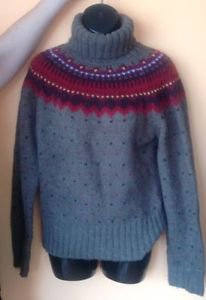 NWOT JCrew Brown Oatmeal Wool Blendl Multicolor Fair Isle Sweater SZ L
