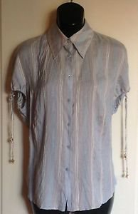 Roberto Cavalli Woven  Powder Blue Stripe Silk Button Front Shirt Sz XL