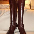 Authentic SERGIO ROSSI chocolate brown knee high pointed toe high heel boots 36