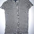 Pre-owned GAP Juniors White/Black Checkered Short Sleeve Blouse (Girls) Size XS
