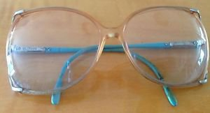 VTG Elasta by Safilo Orange Acetate with Turquoise Plastic Arms Eyeglass Frames