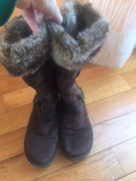 BOC by BORN Brown Suede Mid Calf Boots Bucklel Faux Fur Lining SZ 7.5 $120