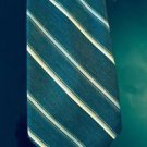 NWT Charles Jourdan Paris Brown with White and Blue Diagonal Stripe Tie 3''