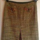 Authentic Cynthia by Cynthia Steffe Moss Green Tweed A Line Skirt SZ 6