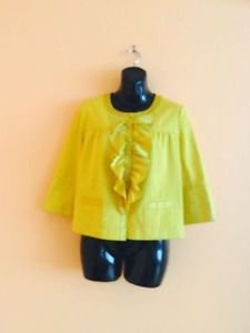 Pre-owned JCREW Marigold Yellow 100% Cotton Jacket w Silk Ruffle SZ 4