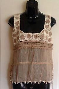 NWOT Blumarine Silk & Cotton Nude & Ivory Crochet Hobo Chic Tank Sz IT 42 US 8