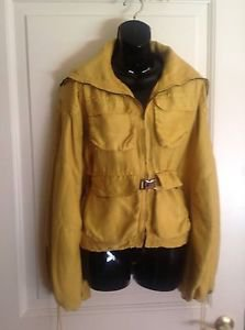 NWOT  KaufmanFranco Lemon Yellow Zip Front Silk Faille Bomber Jacket SZ M