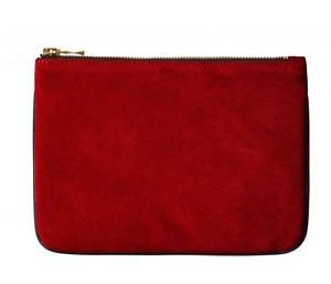 Balmain X H&M Zippered Red Suede Clutch SOLD out