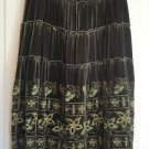 Authentic Cynthia Steffe Mid Calf Pine Green Velvet Multi Tiered Modesty Skirt