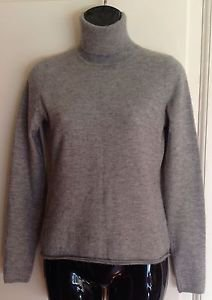Authentic Derek Lam Heather Gray Cashmere Silk Blend Turtleneck mock  Sz L