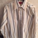 HUGO by HUGO BOSS 100% Cotton Orange, Blue  Vertical Striped Shirt SZ M