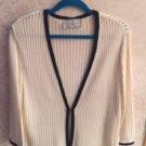 ST. JOHN SPORT  MARIE GRAY Wool Blend Cream & Black Lining Knit Sweater SZ M