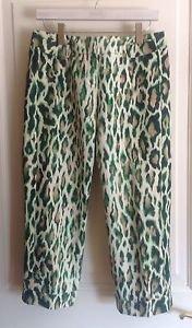 Authentic Christian Dior Paris  Green & Cream Animal Print Pants Culottes SZ 12