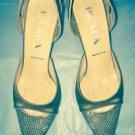 EUC Prada Beige Stamped Leather Snakeskin Print Toe w/ Beige Satin Heels SZ 36