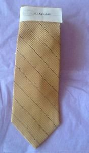 NWT VTG Bronze w/ Black Striped Diagonal Detail Bill Blass Neck Tie 100% Silk