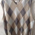 EUC Cashmere Blend BANANA REPUBLIC Oatmeal, Gray Brown Plaid Sweater Vest SZ XL