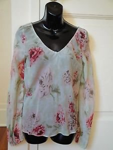 Blumarine Floral Printed Silk Chiffon Seafoam Green Long Sleeve Blouse Sz IT 44