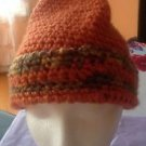 NWOT Hand Knit Acrylic Blend Orange, Green, Yellow Hat w/ Moss Green Pom Poms