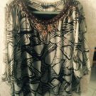 ECI New York Animal Print Abstract 100% Silk Blouse Beaded Neckline SZ 2X