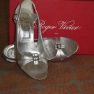 Roger Vivier Silver Leather Open Toe Side Cutouts Heels Sz 6.5 100mm  Marilyn