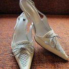 Casadei Cream Patent Leather w/ Gray Suede Insert w/ Bow Detail Slingback Size 6