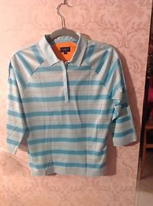 NWOT Burberry Golf Shirt Sky Blue and Blue Stripes SZ S