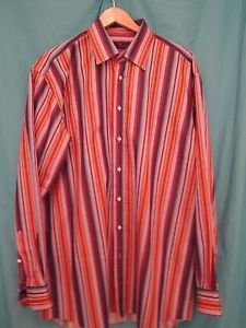 Authentic Etro Milano Mens Striped Multicolor  Size 43 Longsleeved Dress  Shirt