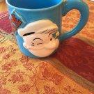 EUC VTG Pop Out Popeye Sky Blue Ceramic Mug 1993 Handprinted