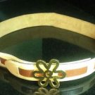 MOSCHINO Brown and Cream Flower Buckle Genuine Leather Belt French Sz 42