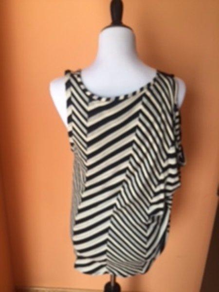 SONIA RYKIEL Cotton Blend Black White Striped Sleeveless Blouse SZ F 42 FRANCE