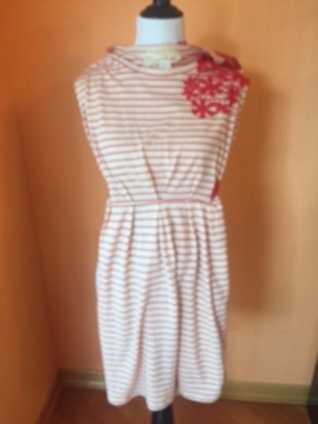 ANTHROPOLOGIE NICK & MO Cotton Beige Red Striped Dress Floral Applique SZ M