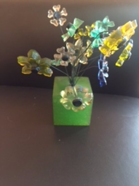VTG Flower Wire Sculpture Resin Mid Century Modern Centerpiece Colorful Gift