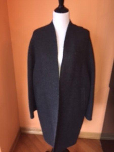 EUC DONNA KARAN SIGNATURE Gray ALPACA Wool Blend Cocoon Coat SZ M Made in Italy