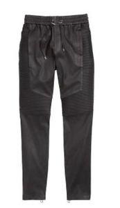 Balmain x H&M Men's Leather Moto Motorcycle Drawstring Pants SZ M Streetwear