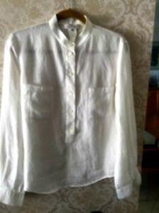 Celine White 100% White Linen Blouse Sz Fr 42 US 10