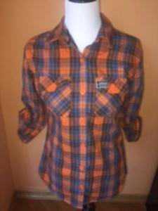 Pre-owned SUPERDRY Orange Blue Plaid Cotton Button Down Shirt SZ L