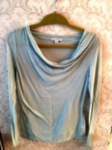 NWOT James Perse Light Blue Cotton Blend  Long Sleeve T-shirt SZ 2 Made in Usa