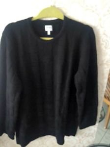 VGC Armani Collezioni Black 100% WoolTextured Long Sleeve Sweater SZ XL